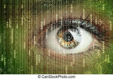 Digital data and eye - Womans eye with futuristic digital...