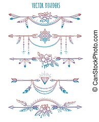 Bohemian dividers with arrows and flowers - Hand drawn...
