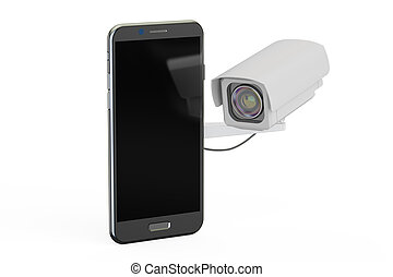 Security camera and smartphone, 3D rendering
