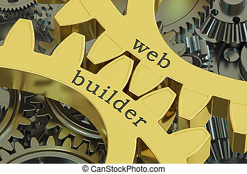 Web Builder concept on the gearwheels, 3D rendering