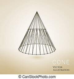 3d vector object - 3d vector cone consists of wireframes and...