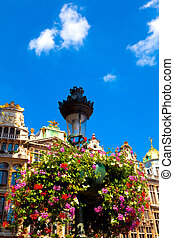 Lamp Post with Flowers - Grand Place, Brussels, Belgium.