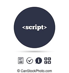 Script sign icon. Javascript code symbol. Report document,...