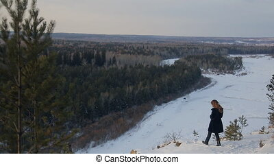 Winter landscape of pine forest, shooting from above