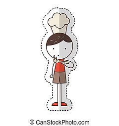 cute little boy with chef hat character vector illustration...