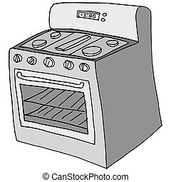 retro stove drawing - An image of a retro stove drawing.