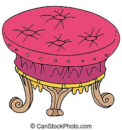 retro foot stool drawing - An image of a retro foot stool...