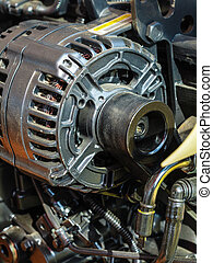 Detailed closeup of alternator generator machine engine -...