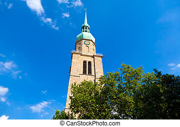 The tower of the protestant Reinoldikirche - the oldest extant church in Dortmund, Germany.