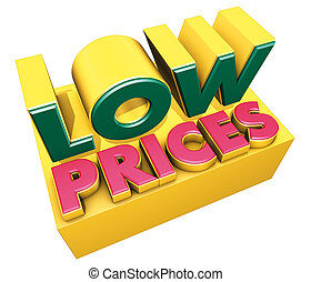 low prices logo - 3d rendering illustration, low prices,...