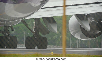 Engines of widebody airplane - Close-up engines...