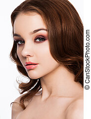 Beauty red eyes pink lips makeup fashion model