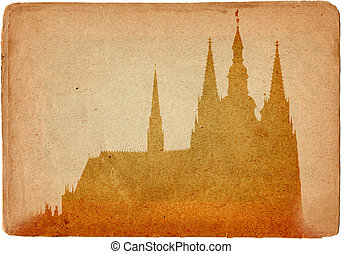 Prague castle and Cathedral of St Vitus in grunge style...