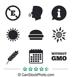 Food additive icon. Hamburger fast food sign. Gluten free...