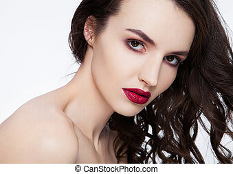 Beauty red lips makeup fashion model curly hair