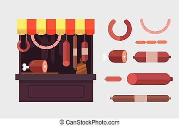 Meat shop stall with meats products. Meat pork, beef, steak,...