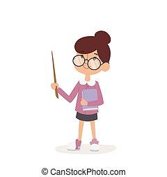 Young kindergarden teacher teaching class cartoon character...