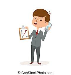 Boy businessman cartoon character person on white background...