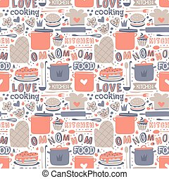 Cooking seamless pattern retro style with kitchen and baking...
