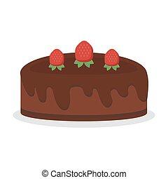 Chocolate cream birthday cake pie isolated vector...