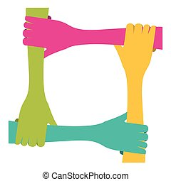 circle of colored hands icon