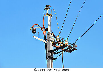 Old power lines pylon
