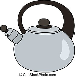 Stainless steel teapot - Hand drawing of a steel teapot