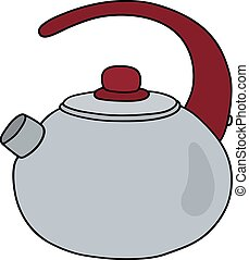 Steel pot with a red handle