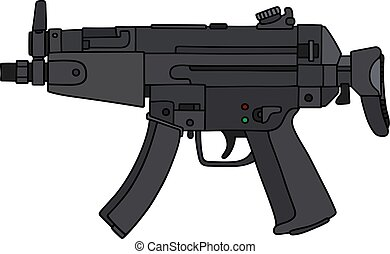 Short submachine gun - Hand drawing of a small submachine...
