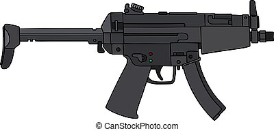 Small submachine gun - Hand drawing of a small automatic gun