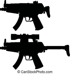 Two automatic guns - Hand drawing of two black silhouettes...