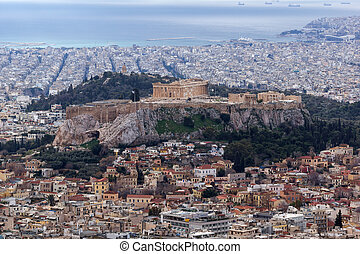 Amazing view of the Acropolis of Athens from Lycabettus...