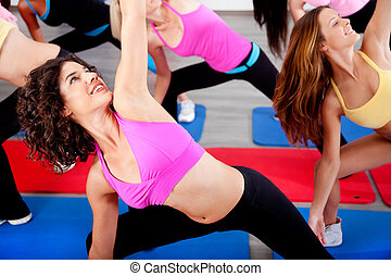 female doing aerobics exercise