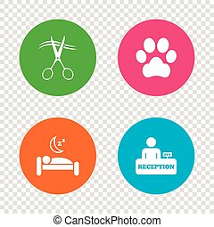 Hotel services icon. Pets allowed, hairdresser. - Hotel...