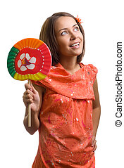 beauty woman with lollipop on white background