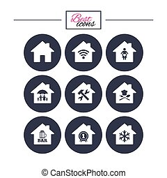 Real estate icons. Home insurance sign.