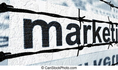 Marketing tag against barbwire