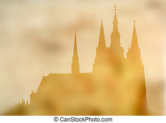 Prague castle and Cathedral of St Vitus - blurred. Hradcany...