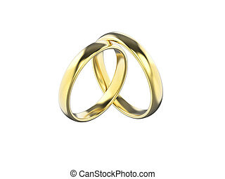 3D illustration gold wedding ring