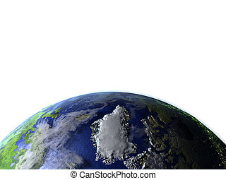 Greenland on realistic model of Earth