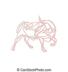 Bull cartoon - vector illustration