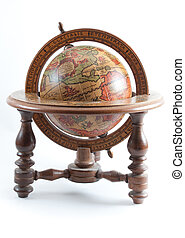 Old style wooden globe showing North America on isolated...