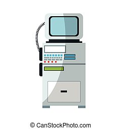 monitor medical equipment icon over white background....