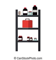 shelves with medical supplies