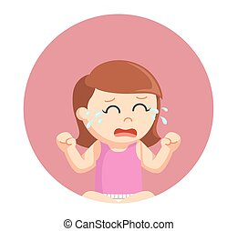 baby girl crying in circle background