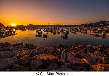 Italian Riviera Marina at Sunset. Lerici, italy. Boats and...