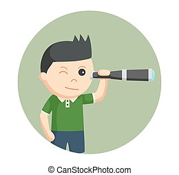 little boy using telescope in circle background