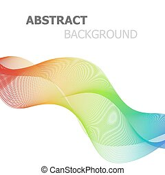 Abstract colorful lines wave on white background