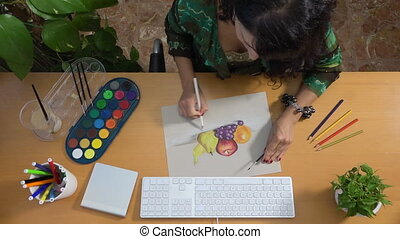 Woman drawing picture with pastels art still life creativity...