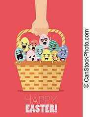Hand holding wicker basket with easter eggs